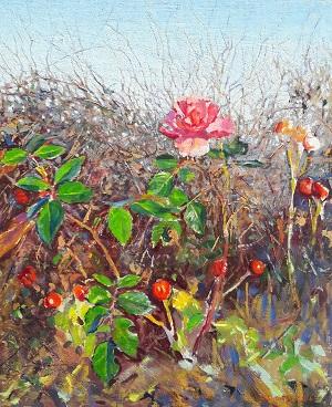 DAMARIS LYSAGHT Last Rose of November (Oil on canvas on panel 48x43cm framed) 20171112_074713